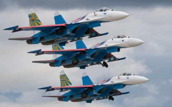 sou, истребитель, русские Три военный в полете