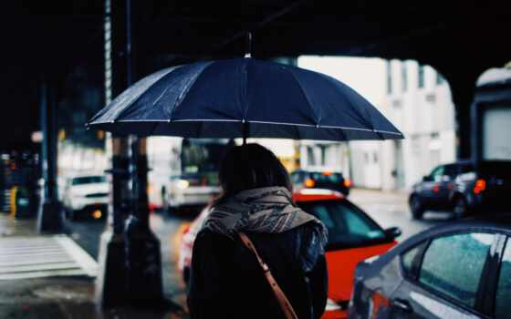 девушка, зонтик, дождь, погода, под, спина, москва, информ, россия, ночь