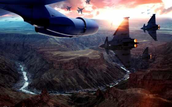 font, каньон, plane, небо, war, самолёт, закат, армия
