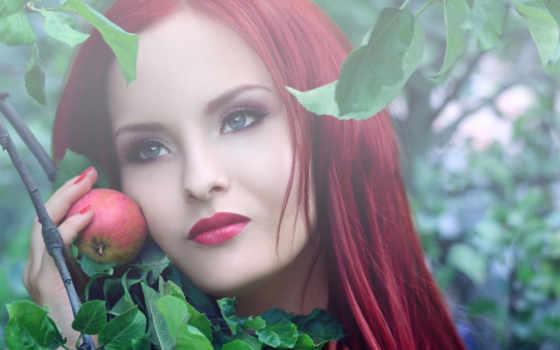 девушка, яблоко