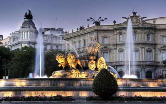 fountain, испания, мадрид, сумерки, сибелес, вечер, барселона,