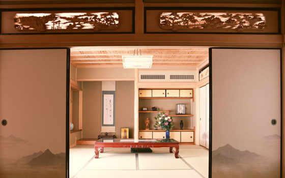 ,комната, япония, столик, двери, фото,