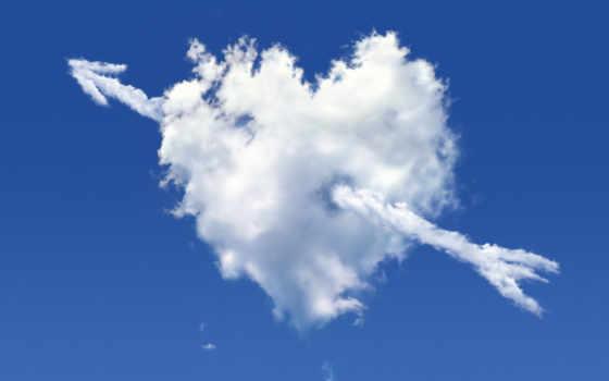 сердце, облако, небо, стрелок, oblaka, rendering, сердца, изображение,