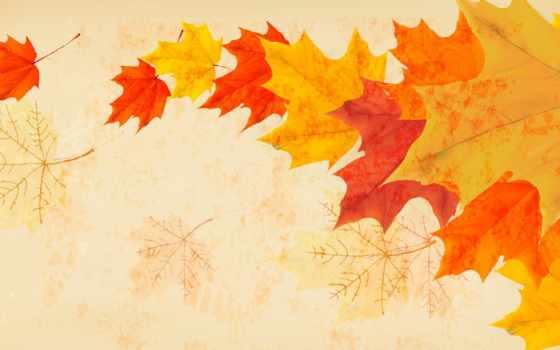 минимализм, осень, ветер, листва, рисунок, листья,