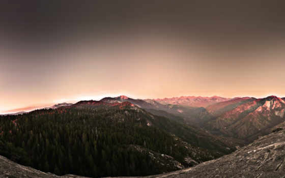 , горы, рассвет, лес, небо