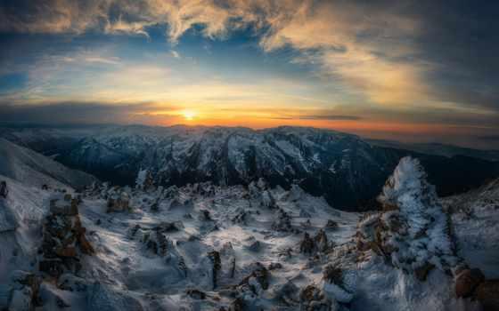 закат, снег, краси, matarov, болгария, дерево,