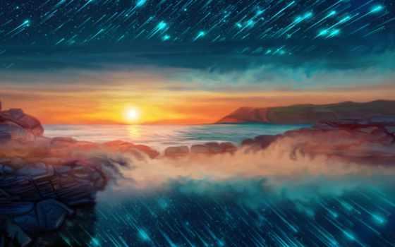 seascape, starfall, телефон, art, goodfon, digital, закат