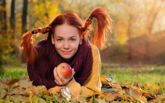 red, девушка, осень, косичка, gal, apple, лист, улыбка, природа, land, sweater