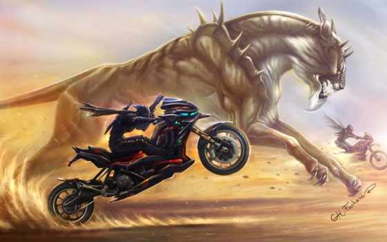 motorcycle, art, sci, fi, picture, wallpaper, digi