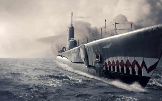 подводная, лодка, арт, submarine,
