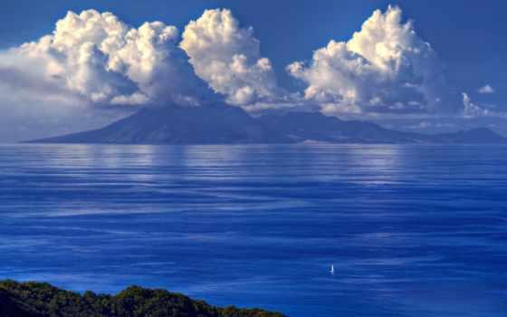 море, sailboat, небо