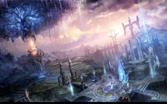 город, фантастика, art, fantasy, грани, картинка, фантастические,