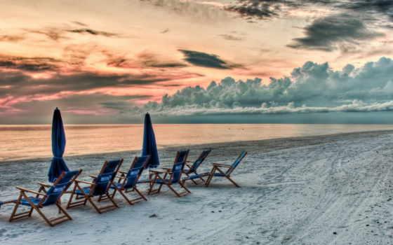 закат, пляж, небо, красивый, песок, облаках, взгляд, hdr, море,