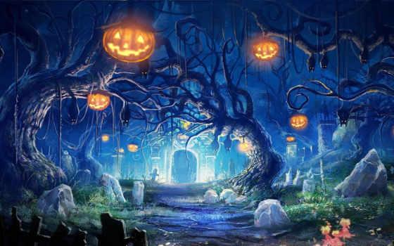 halloween, праздник, тыквы, ночь, favourite, могилы,