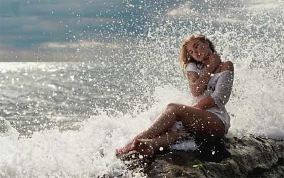 девушка, сидит, берег, камень, море, брызги, берегу, настроение, моря,