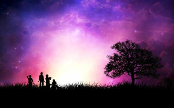 закат, звезды, люди, дерево, силуэт, стиль, трава, небо, purple, дек,