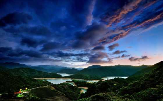 taiwan, taipei, небо, закат, дек, горы, вечер, китаянка, oblaka, мира,