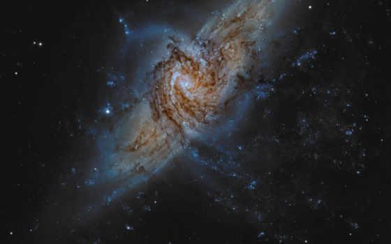 галактики, ngc, спиральные, две, яркие, далеко, galaxy, космос, спиральной, прекрасное,