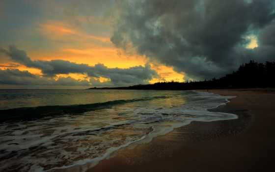 чёрно, моря, вечер, берег, интерьере,