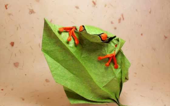 оригами, papel, rana, una, photos, листва, desktop,