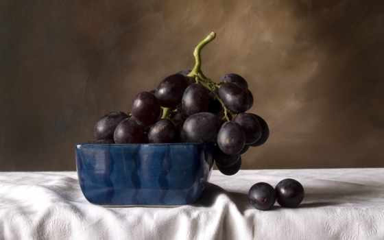 натюрморт, виноград, фрукты, ваза, корзина,