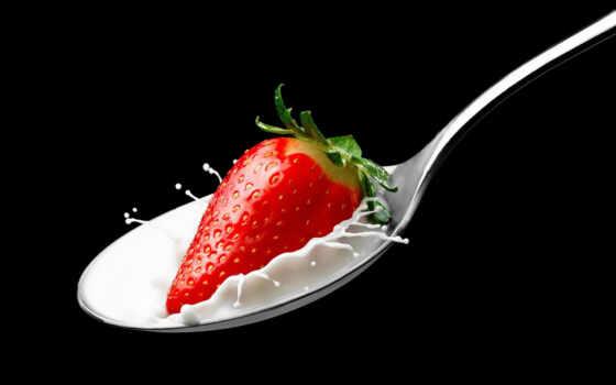 клубника, мороженое, tapety, black, spoon, плод, jako-cus, które, pulpicie, jednym, pulpit
