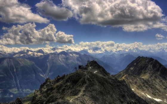 облака, горы, пейзажи -