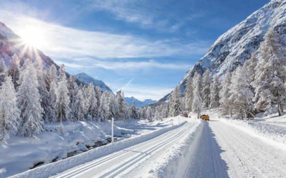 winter, снег, лес,  дорога, горы,