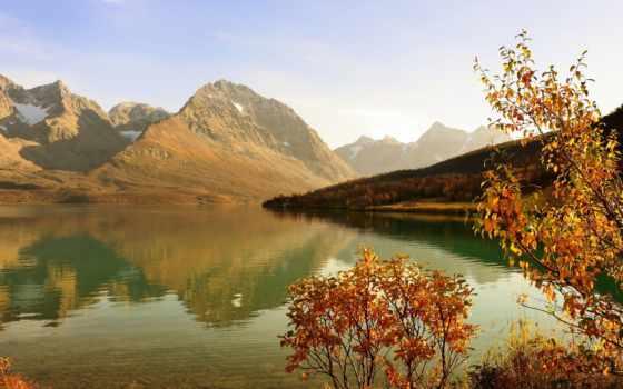 herbst, hintergrundbild, bäume, see, sonne, berge, den, wald, strauch, hohe,