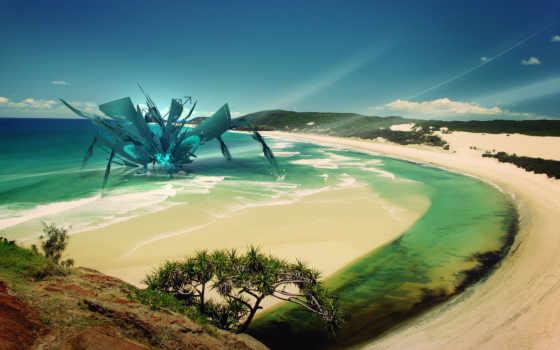 art, abstract, пляж