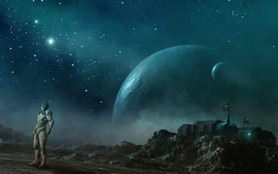 мужчина, cosmos, planet, скафандр, звезды, станция, увеличить,