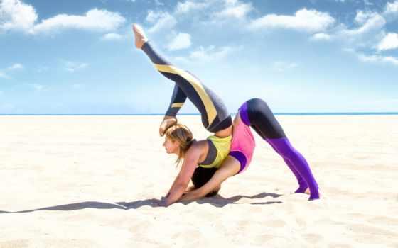 йога, песок, relax, поза, пляж, девушка, loss, гиря, фитнес, релакс,
