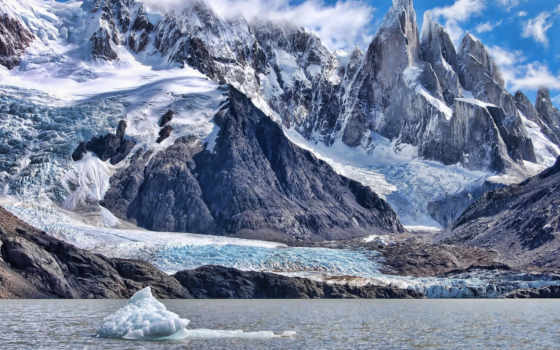 лед, горы, природа, winter, скандинавский, mountains, ocean, льдины,