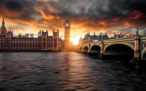 , лондон, бигбен, мост, река, закат