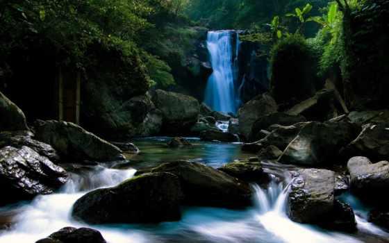 водопад, гора, камни, мох, лес,