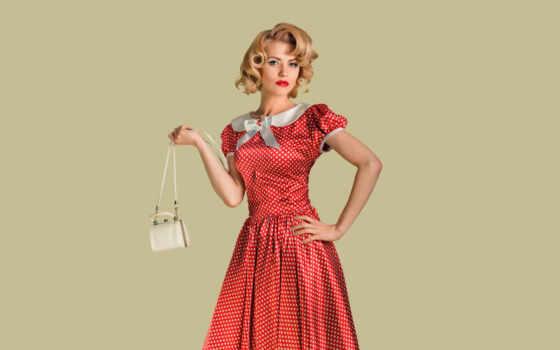 платье, девушка, модель, ретро, поза, blonde, взгляд, pea, стиль, hairstyle, макияж