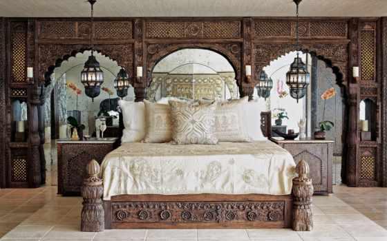 спальня, интерьер, кровать, подушки, комната, зеркала, moroccan, ретро, bedroom, тумбочки, стиль, стиле, красиво, настроение, светильники, разное, designs,