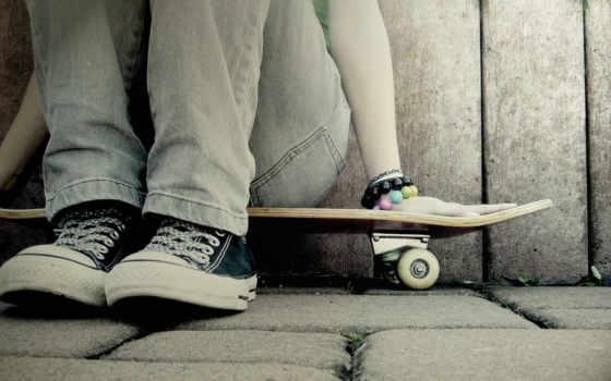 skateboard, кеды, девушка,