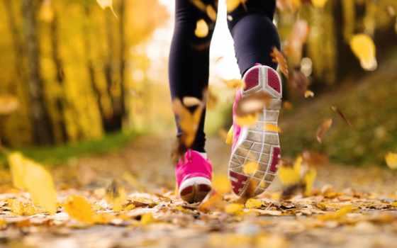 run, спорт, кеды, девушка, листья,