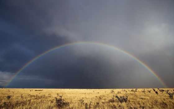 радуга, поле, небо, landscape, природа, после, clouds,