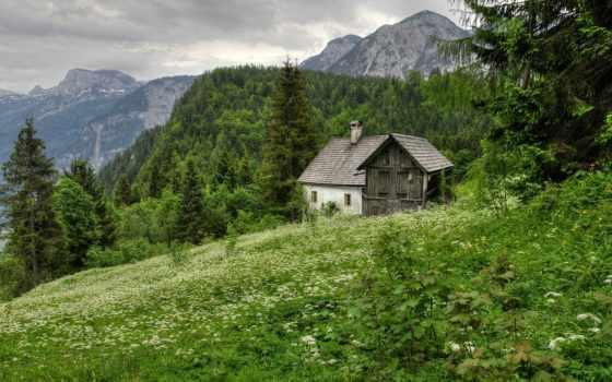 casa, montaña, una, que,