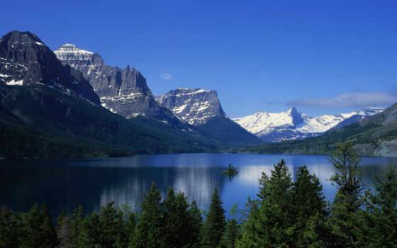 озеро, горы, landscape, trees, озера, небо, among, гор, oblaka,