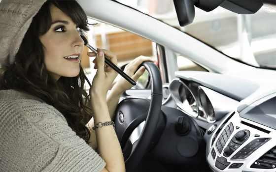 машине, брюнетки, devushki, девушка, за, макияж, девушек, красивых, красится, ходу, фото,