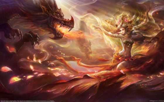 wang, rongrong, девушка, дракон, art, украшения, cvety,