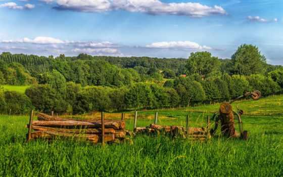природа, поле, amazing, небо, fullhd, trees, android, château, пейзажи -, bernateau,