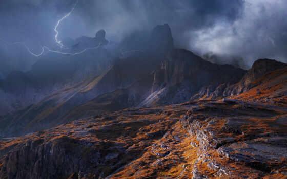 thunderstorm, lightning, буря, тематика, art, strike, гора, fine, how, погода