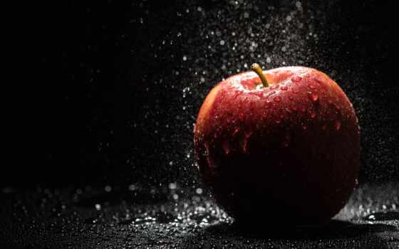 apple, drop, water, плод
