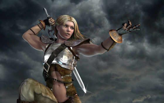 warrior, women, fantasy