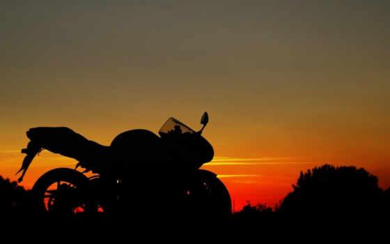 закат, мото, suzuki, profile, небо, мотоцикл,