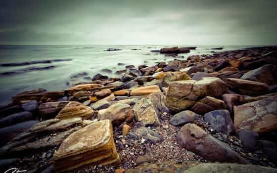 rocks, берег, high, clouds, природа, пляж, black, landscapes,